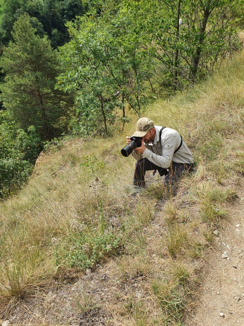 Chris aan het macrofotograferen